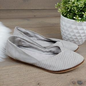 Toms Gray suede pointy ballet flats